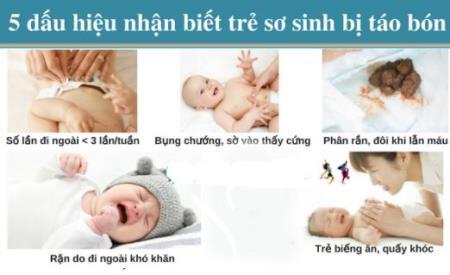Dấu hiệu nhận biết trẻ sơ sinh bị táo bón